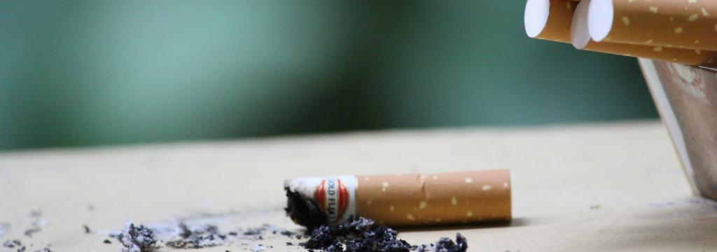 Um cigarro de um maço de tabaco